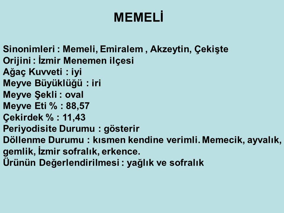MEMELİ Sinonimleri : Memeli, Emiralem, Akzeytin, Çekişte Orijini : İzmir Menemen ilçesi Ağaç Kuvveti : iyi Meyve Büyüklüğü : iri Meyve Şekli : oval Meyve Eti % : 88,57 Çekirdek % : 11,43 Periyodisite Durumu : gösterir Döllenme Durumu : kısmen kendine verimli.