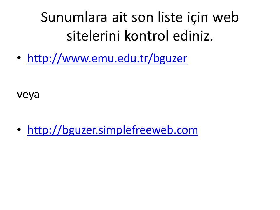 Sunumlara ait son liste için web sitelerini kontrol ediniz.