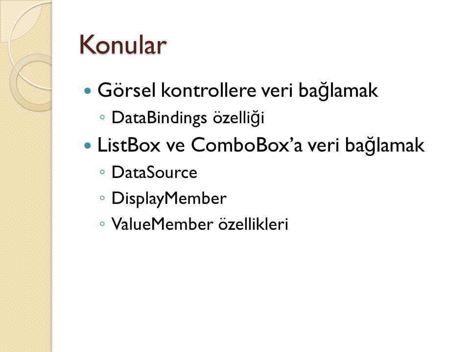 Konular Görsel kontrollere veri ba ğ lamak ◦ DataBindings özelli ğ i ListBox ve ComboBox'a veri ba ğ lamak ◦ DataSource ◦ DisplayMember ◦ ValueMember