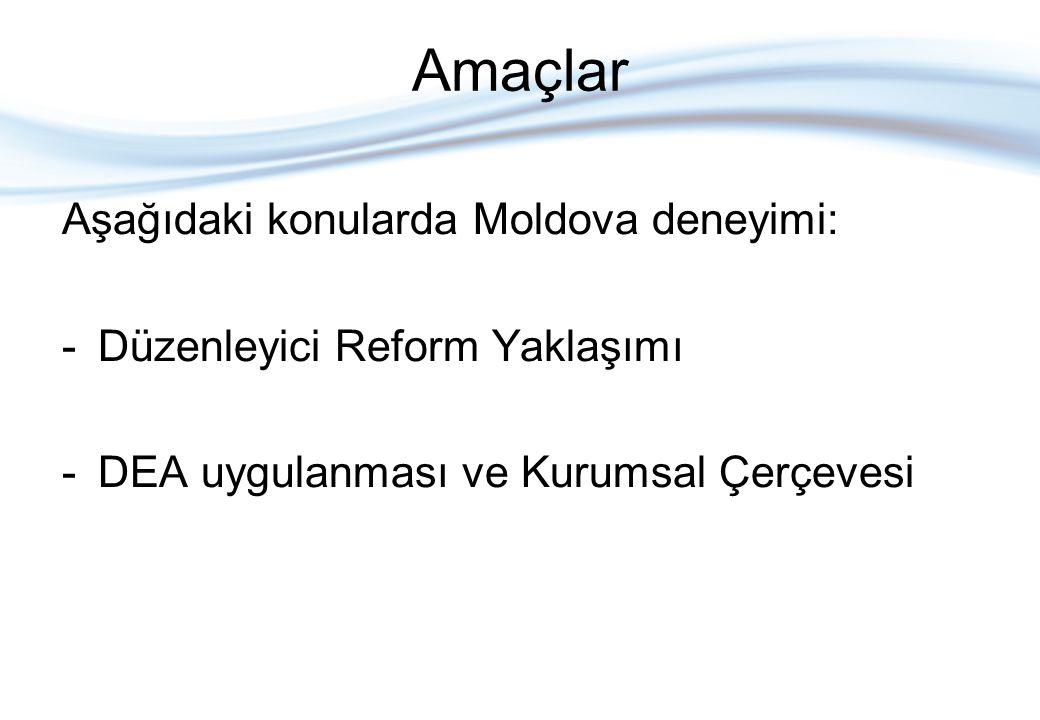 Amaçlar Aşağıdaki konularda Moldova deneyimi: -Düzenleyici Reform Yaklaşımı -DEA uygulanması ve Kurumsal Çerçevesi