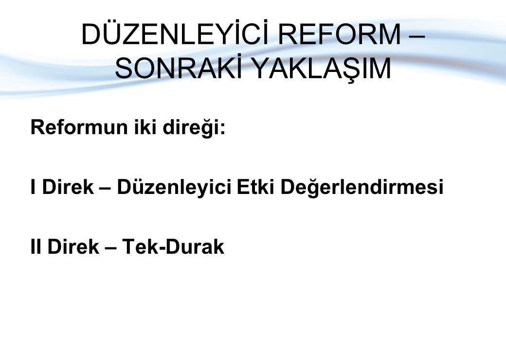 DÜZENLEYİCİ REFORM – SONRAKİ YAKLAŞIM Reformun iki direği: I Direk – Düzenleyici Etki Değerlendirmesi II Direk – Tek-Durak