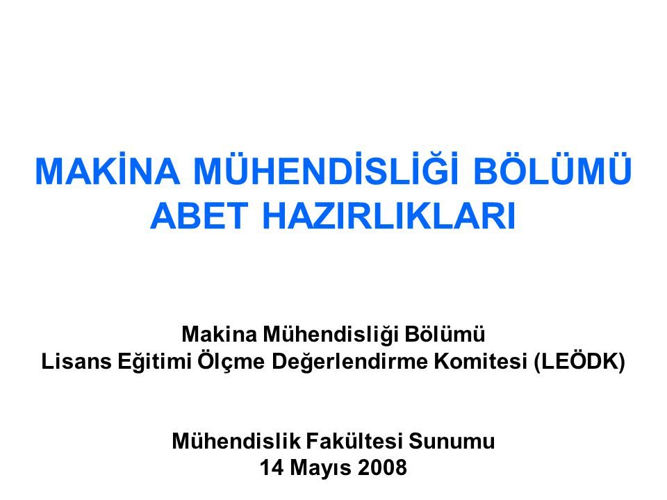 2 ABET YOL HARİTASI  Performance Objectives Established.