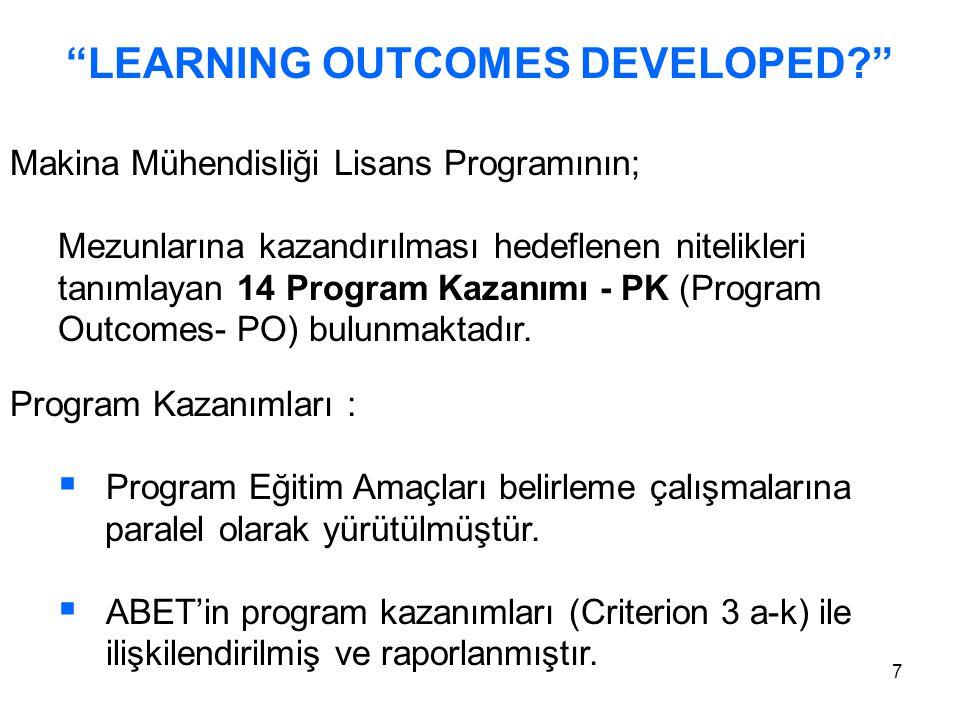 7 LEARNING OUTCOMES DEVELOPED Makina Mühendisliği Lisans Programının; Mezunlarına kazandırılması hedeflenen nitelikleri tanımlayan 14 Program Kazanımı - PK (Program Outcomes- PO) bulunmaktadır.
