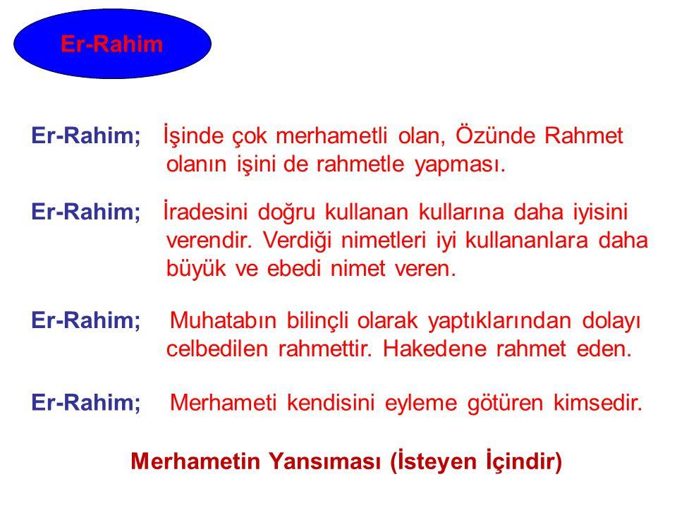 Er-Rahim Er-Rahim; Muhatabın bilinçli olarak yaptıklarından dolayı celbedilen rahmettir. Hakedene rahmet eden. Er-Rahim; İradesini doğru kullanan kull