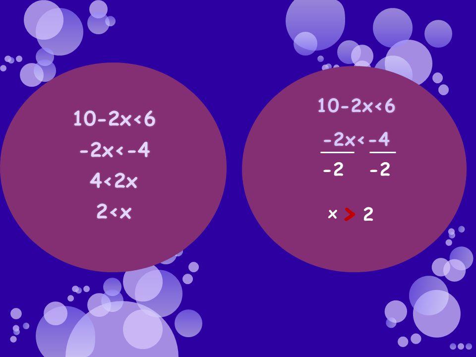 -2 -2 x > 2 10-2x<6 -2x<-4