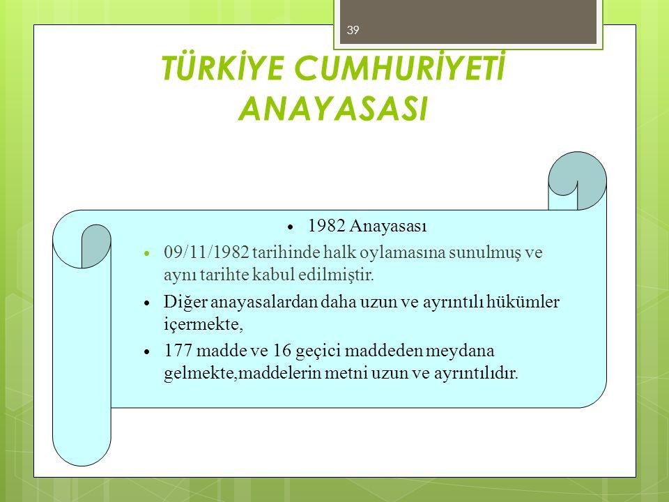 TÜRKİYE CUMHURİYETİ ANAYASASI  1982 Anayasası  09/11/1982 tarihinde halk oylamasına sunulmuş ve aynı tarihte kabul edilmiştir.  Diğer anayasalardan