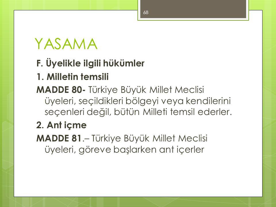 YASAMA F. Üyelikle ilgili hükümler 1. Milletin temsili MADDE 80- Türkiye Büyük Millet Meclisi üyeleri, seçildikleri bölgeyi veya kendilerini seçenleri