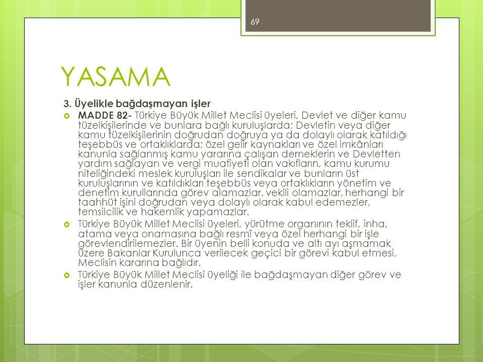 YASAMA 3. Üyelikle bağdaşmayan işler  MADDE 82- Türkiye Büyük Millet Meclisi üyeleri, Devlet ve diğer kamu tüzelkişilerinde ve bunlara bağlı kuruluşl