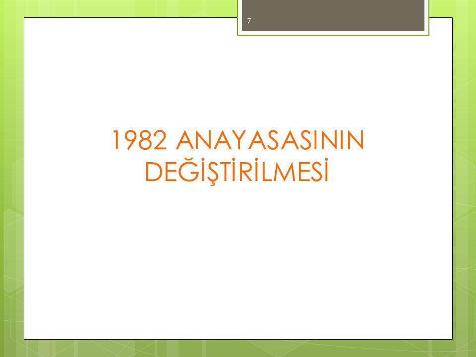 ANAYASANIN DEĞİŞTİRİLMESİ  Anayasanın değiştirilmesi, Türkiye Büyük Millet Meclisi üye tamsayısının en az üçte biri tarafından yazıyla teklif edilebilir.