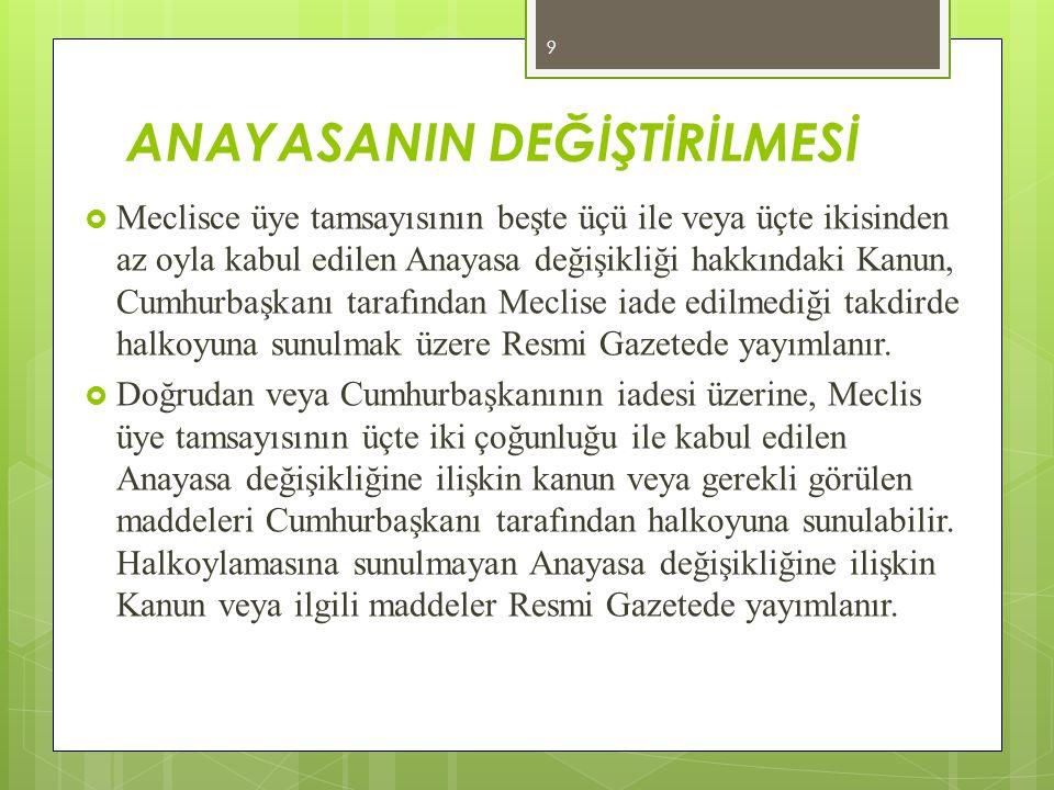KİŞİNİN HAKLARI ve ÖDEVLERİ (KHK ile düzenlenemez) XIII.