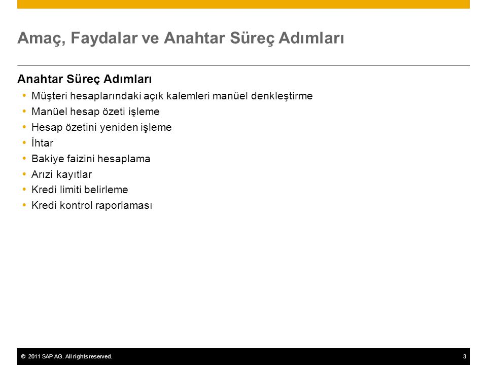 ©2011 SAP AG. All rights reserved.3 Amaç, Faydalar ve Anahtar Süreç Adımları Anahtar Süreç Adımları  Müşteri hesaplarındaki açık kalemleri manüel den
