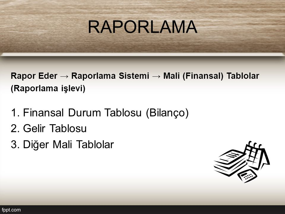 Rapor Eder → Raporlama Sistemi → Mali (Finansal) Tablolar (Raporlama işlevi) 1. Finansal Durum Tablosu (Bilanço) 2. Gelir Tablosu 3. Diğer Mali Tablol