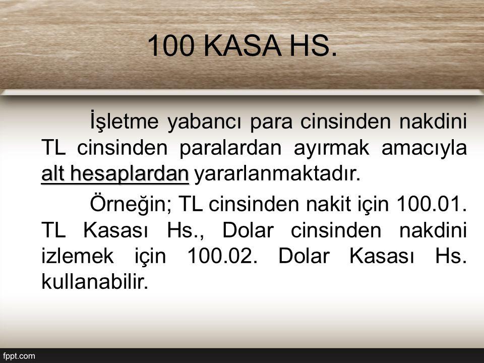 100 KASA HS. alt hesaplardan İşletme yabancı para cinsinden nakdini TL cinsinden paralardan ayırmak amacıyla alt hesaplardan yararlanmaktadır. Örneğin