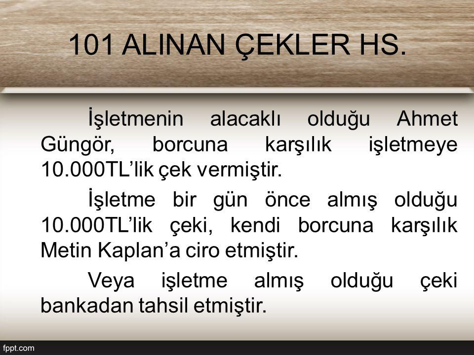 101 ALINAN ÇEKLER HS. İşletmenin alacaklı olduğu Ahmet Güngör, borcuna karşılık işletmeye 10.000TL'lik çek vermiştir. İşletme bir gün önce almış olduğ