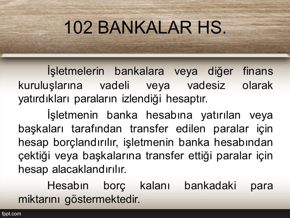 102 BANKALAR HS. İşletmelerin bankalara veya diğer finans kuruluşlarına vadeli veya vadesiz olarak yatırdıkları paraların izlendiği hesaptır. İşletmen