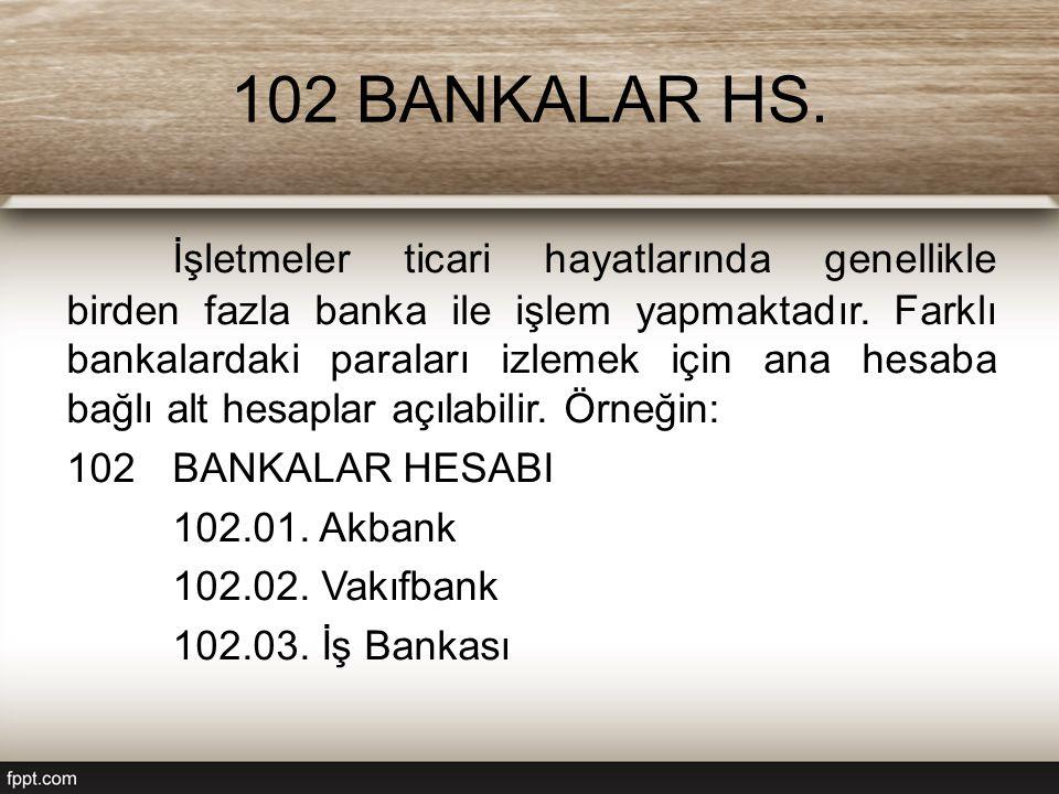 102 BANKALAR HS. İşletmeler ticari hayatlarında genellikle birden fazla banka ile işlem yapmaktadır. Farklı bankalardaki paraları izlemek için ana hes