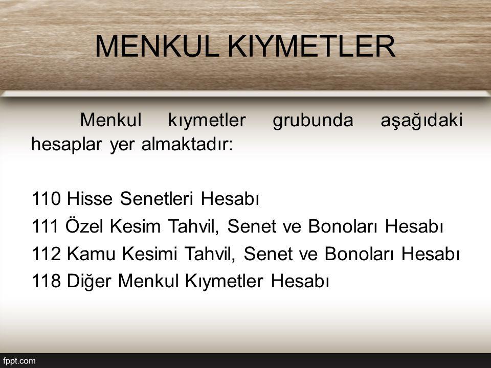 MENKUL KIYMETLER Menkul kıymetler grubunda aşağıdaki hesaplar yer almaktadır: 110 Hisse Senetleri Hesabı 111 Özel Kesim Tahvil, Senet ve Bonoları Hesa