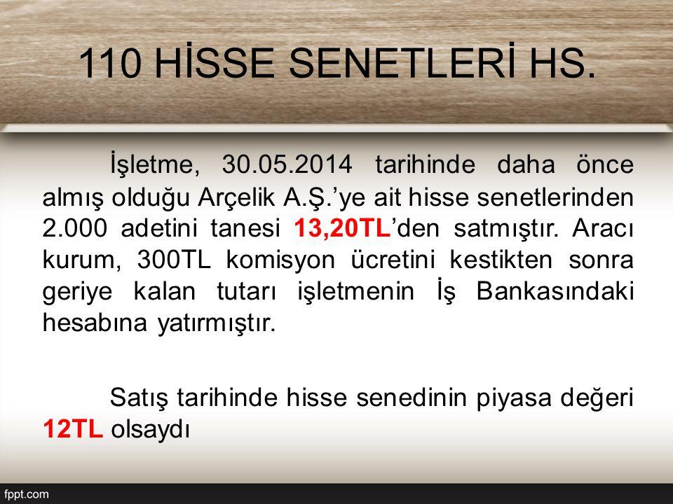 110 HİSSE SENETLERİ HS. İşletme, 30.05.2014 tarihinde daha önce almış olduğu Arçelik A.Ş.'ye ait hisse senetlerinden 2.000 adetini tanesi 13,20TL'den