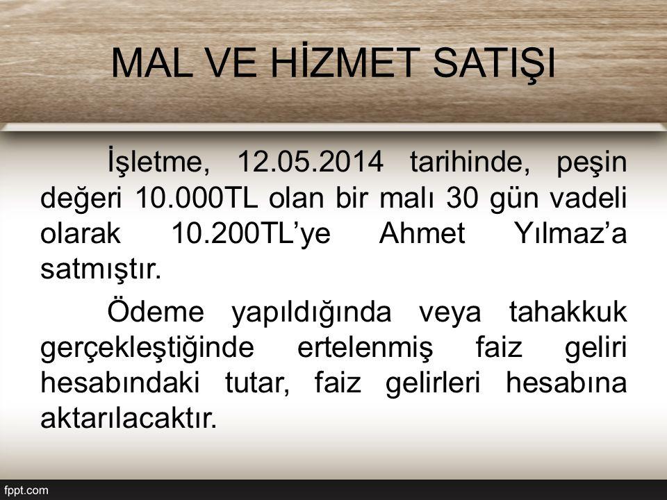 MAL VE HİZMET SATIŞI İşletme, 12.05.2014 tarihinde, peşin değeri 10.000TL olan bir malı 30 gün vadeli olarak 10.200TL'ye Ahmet Yılmaz'a satmıştır. Öde