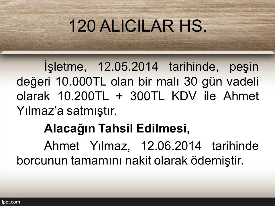 120 ALICILAR HS. İşletme, 12.05.2014 tarihinde, peşin değeri 10.000TL olan bir malı 30 gün vadeli olarak 10.200TL + 300TL KDV ile Ahmet Yılmaz'a satmı