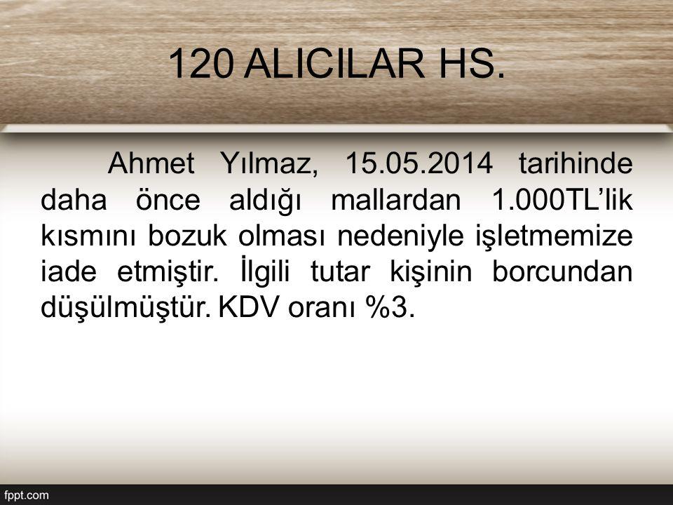 120 ALICILAR HS. Ahmet Yılmaz, 15.05.2014 tarihinde daha önce aldığı mallardan 1.000TL'lik kısmını bozuk olması nedeniyle işletmemize iade etmiştir. İ