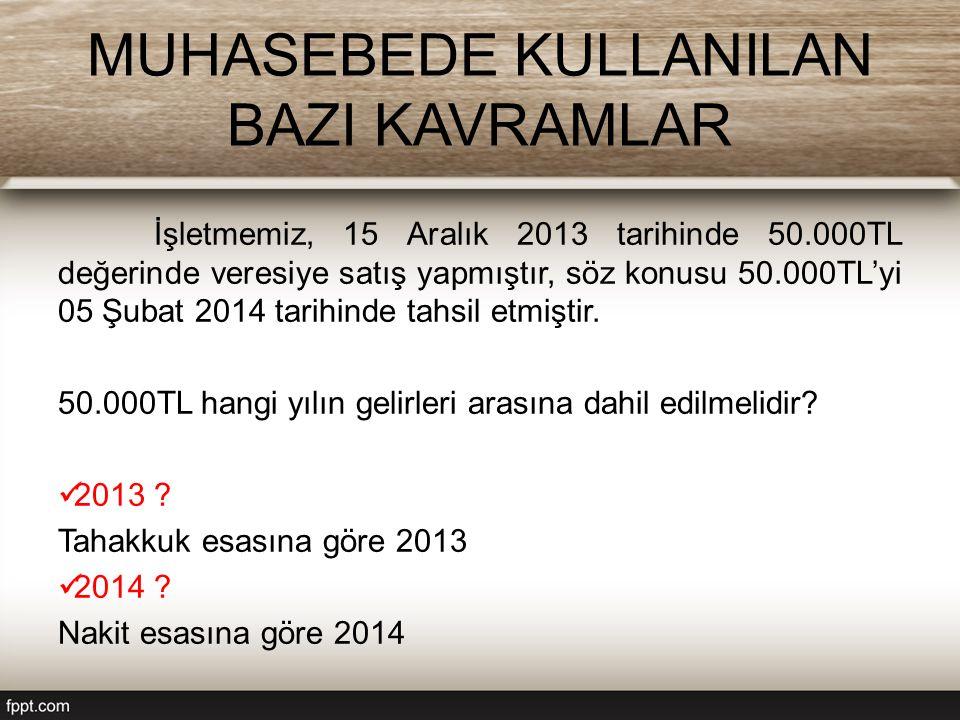 MUHASEBEDE KULLANILAN BAZI KAVRAMLAR İşletmemiz, 15 Aralık 2013 tarihinde 50.000TL değerinde veresiye satış yapmıştır, söz konusu 50.000TL'yi 05 Şubat