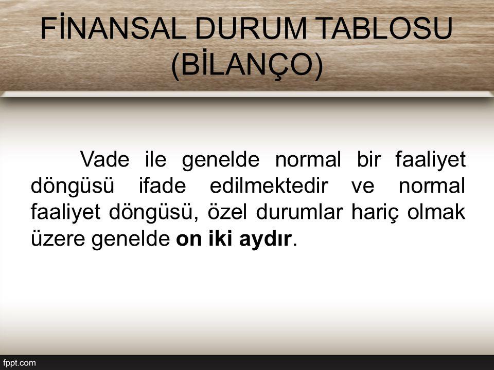 FİNANSAL DURUM TABLOSU (BİLANÇO) Vade ile genelde normal bir faaliyet döngüsü ifade edilmektedir ve normal faaliyet döngüsü, özel durumlar hariç olmak