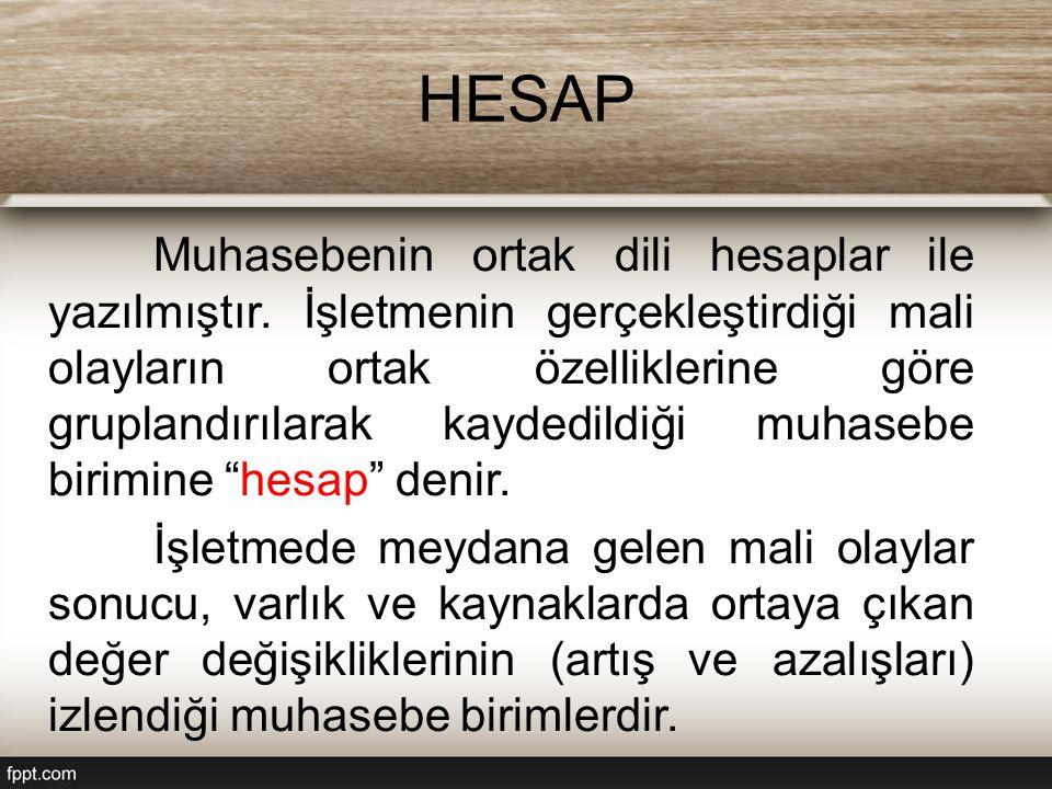 HESAP Muhasebenin ortak dili hesaplar ile yazılmıştır. İşletmenin gerçekleştirdiği mali olayların ortak özelliklerine göre gruplandırılarak kaydedildi