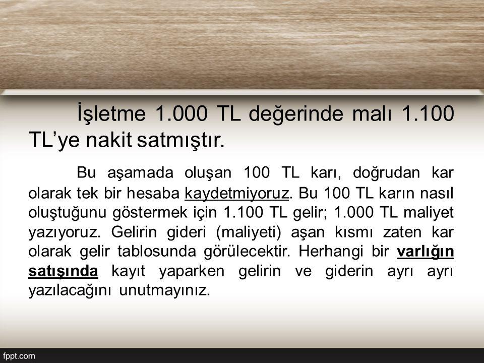 İşletme 1.000 TL değerinde malı 1.100 TL'ye nakit satmıştır. Bu aşamada oluşan 100 TL karı, doğrudan kar olarak tek bir hesaba kaydetmiyoruz. Bu 100 T