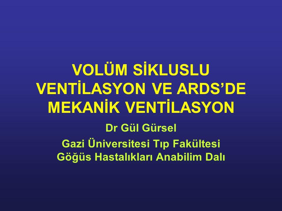 VOLÜM SİKLUSLU VENTİLASYON VE ARDS'DE MEKANİK VENTİLASYON Dr Gül Gürsel Gazi Üniversitesi Tıp Fakültesi Göğüs Hastalıkları Anabilim Dalı