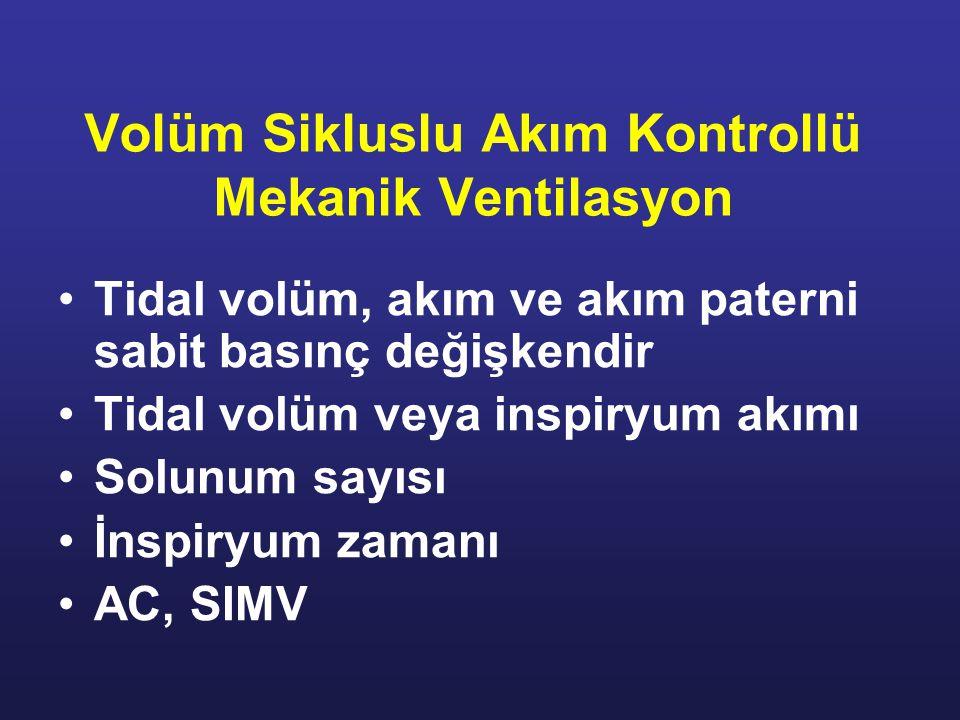 Volüm Sikluslu Akım Kontrollü Mekanik Ventilasyon Tidal volüm, akım ve akım paterni sabit basınç değişkendir Tidal volüm veya inspiryum akımı Solunum sayısı İnspiryum zamanı AC, SIMV