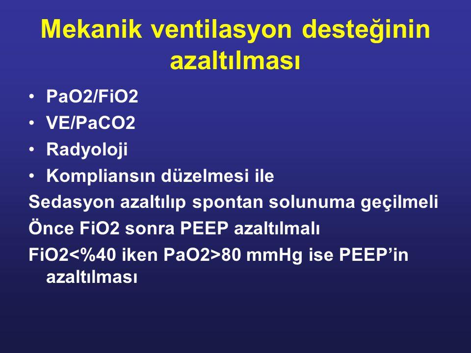 Mekanik ventilasyon desteğinin azaltılması PaO2/FiO2 VE/PaCO2 Radyoloji Kompliansın düzelmesi ile Sedasyon azaltılıp spontan solunuma geçilmeli Önce FiO2 sonra PEEP azaltılmalı FiO2 80 mmHg ise PEEP'in azaltılması