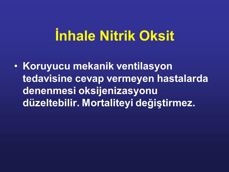 İnhale Nitrik Oksit Koruyucu mekanik ventilasyon tedavisine cevap vermeyen hastalarda denenmesi oksijenizasyonu düzeltebilir. Mortaliteyi değiştirmez.