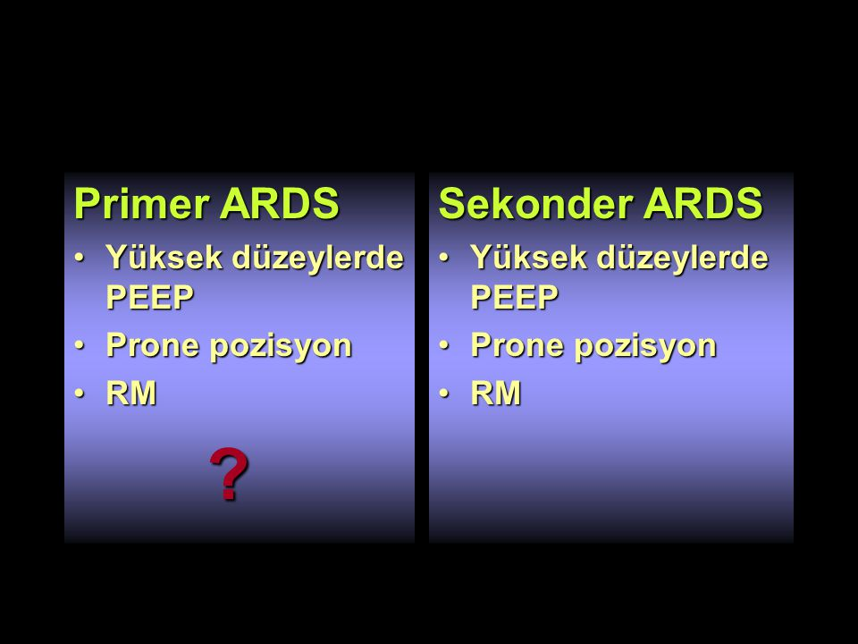 Primer ARDS Yüksek düzeylerde PEEPYüksek düzeylerde PEEP Prone pozisyonProne pozisyon RMRM .