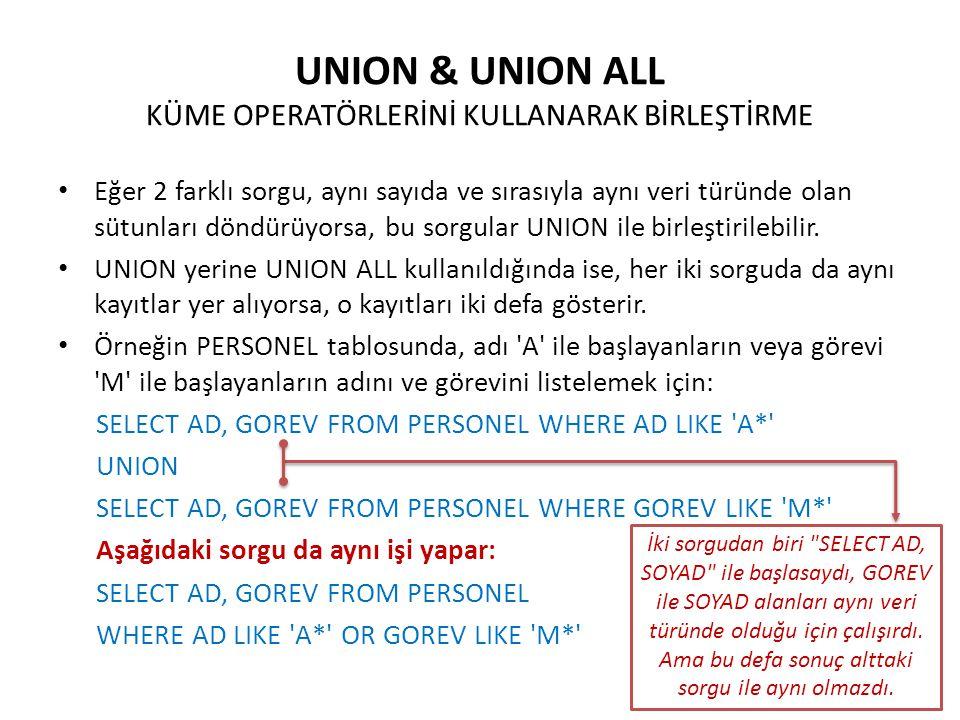 UNION & UNION ALL KÜME OPERATÖRLERİNİ KULLANARAK BİRLEŞTİRME Eğer 2 farklı sorgu, aynı sayıda ve sırasıyla aynı veri türünde olan sütunları döndürüyor