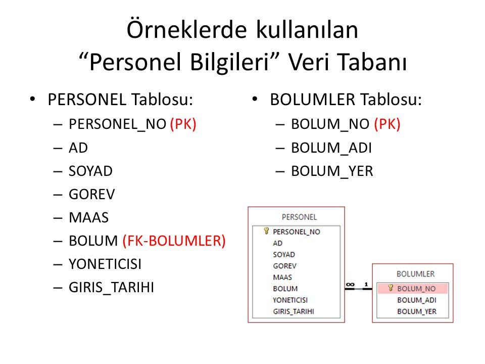 """Örneklerde kullanılan """"Personel Bilgileri"""" Veri Tabanı PERSONEL Tablosu: – PERSONEL_NO (PK) – AD – SOYAD – GOREV – MAAS – BOLUM (FK-BOLUMLER) – YONETI"""