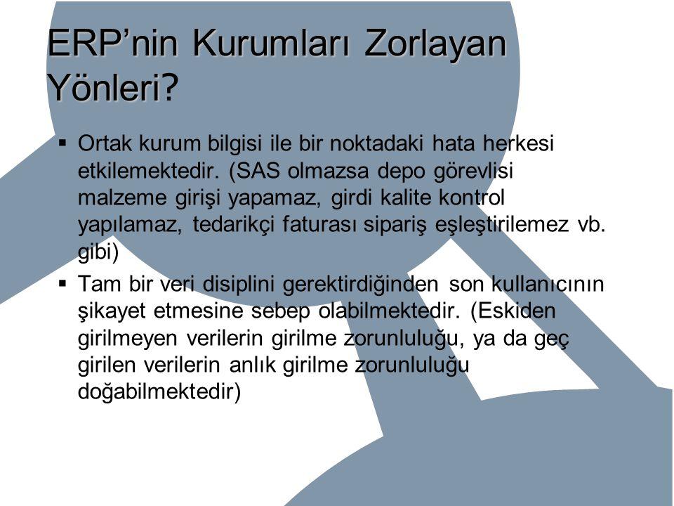 ERP'nin Kurumları Zorlayan Yönleri ERP'nin Kurumları Zorlayan Yönleri ?  Ortak kurum bilgisi ile bir noktadaki hata herkesi etkilemektedir. (SAS olma