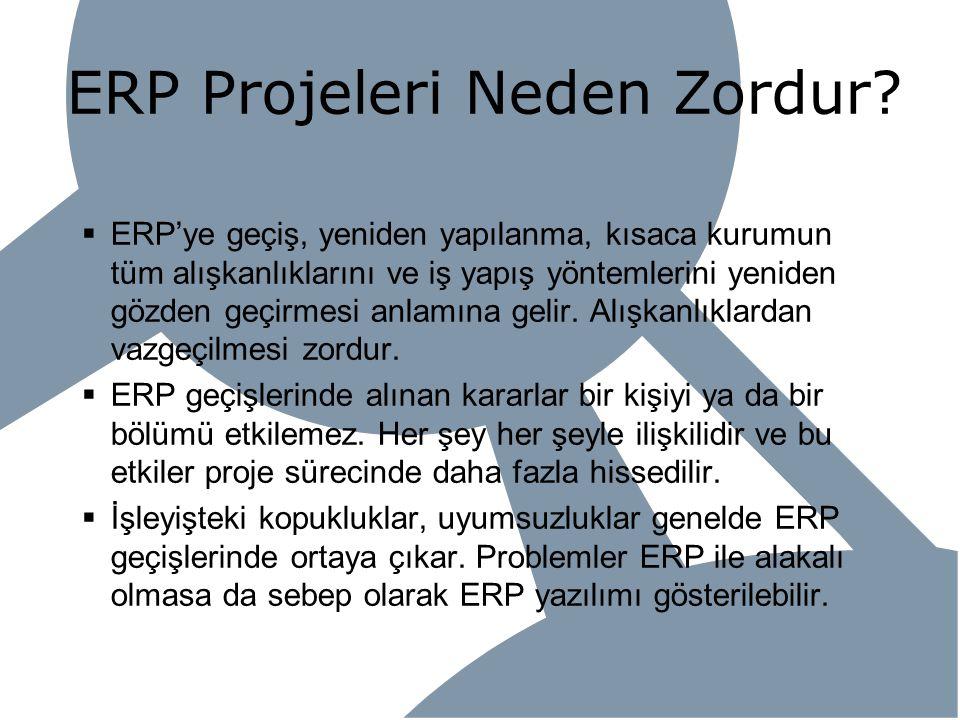 ERP Projeleri Neden Zordur?  ERP'ye geçiş, yeniden yapılanma, kısaca kurumun tüm alışkanlıklarını ve iş yapış yöntemlerini yeniden gözden geçirmesi a