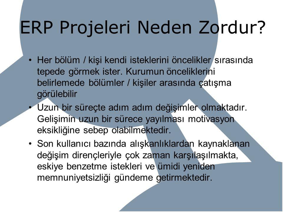 ERP Projeleri Neden Zordur? Her bölüm / kişi kendi isteklerini öncelikler sırasında tepede görmek ister. Kurumun önceliklerini belirlemede bölümler /
