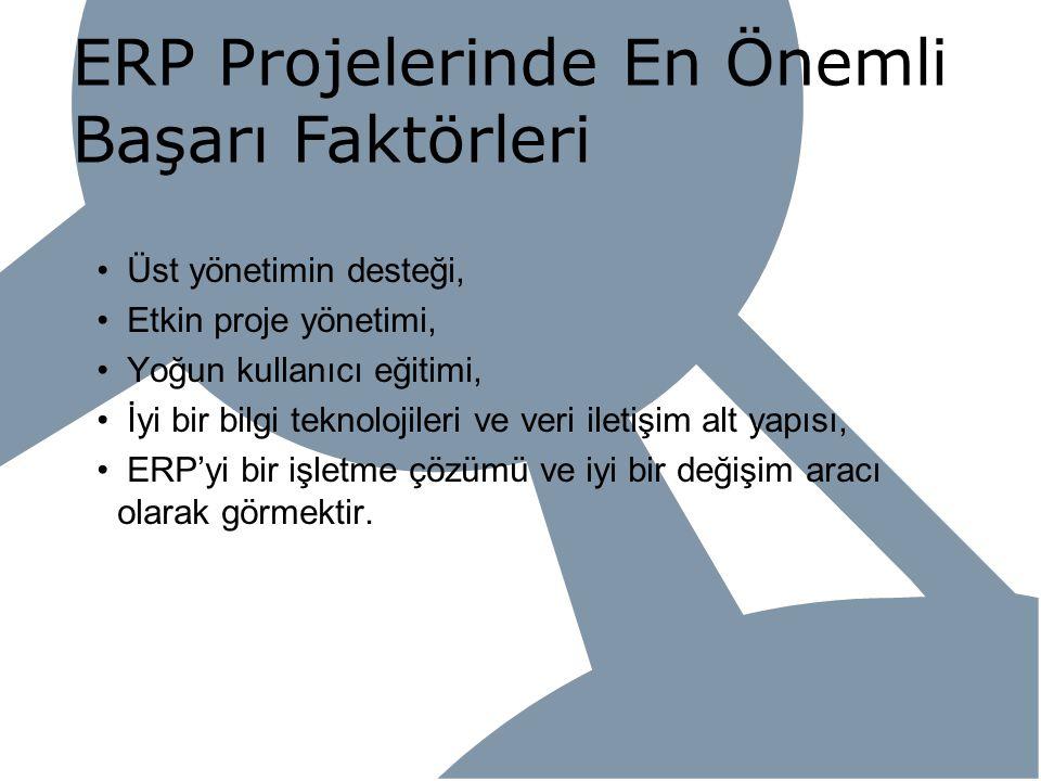 ERP Projelerinde En Önemli Başarı Faktörleri Üst yönetimin desteği, Etkin proje yönetimi, Yoğun kullanıcı eğitimi, İyi bir bilgi teknolojileri ve veri
