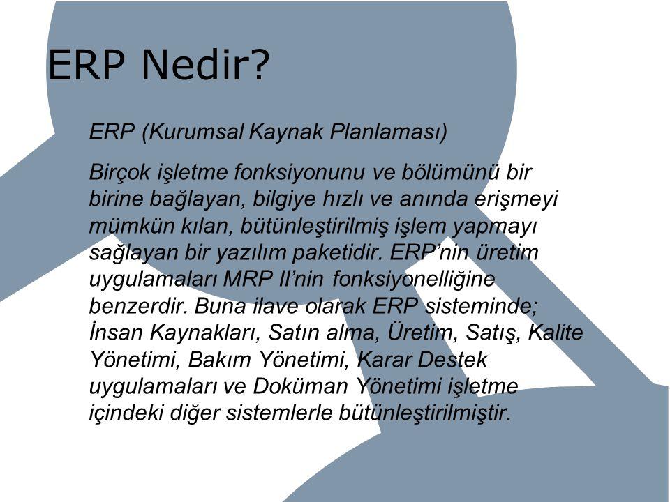 ERP Nedir? ERP (Kurumsal Kaynak Planlaması) Birçok işletme fonksiyonunu ve bölümünü bir birine bağlayan, bilgiye hızlı ve anında erişmeyi mümkün kılan