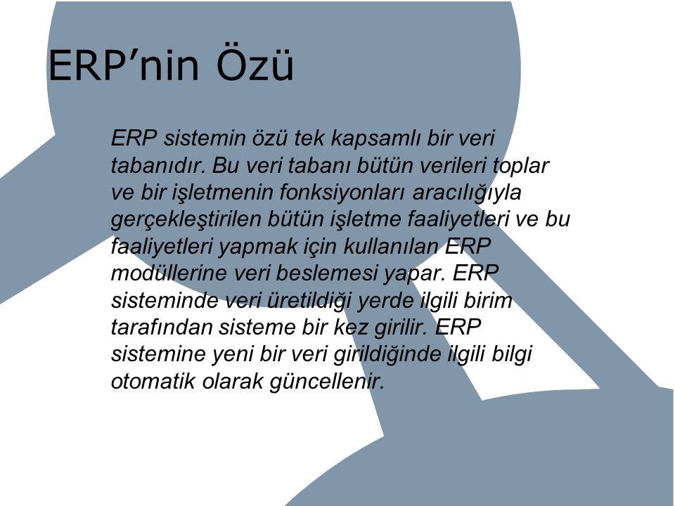 ERP'nin Özü ERP sistemin özü tek kapsamlı bir veri tabanıdır. Bu veri tabanı bütün verileri toplar ve bir işletmenin fonksiyonları aracılığıyla gerçek