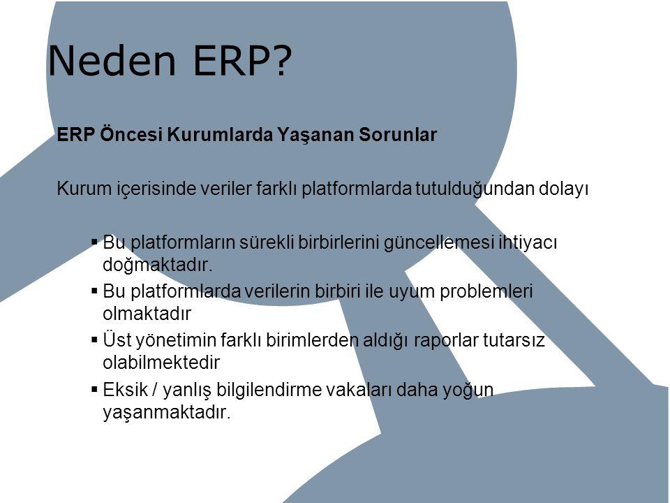 Neden ERP? ERP Öncesi Kurumlarda Yaşanan Sorunlar Kurum içerisinde veriler farklı platformlarda tutulduğundan dolayı  Bu platformların sürekli birbir