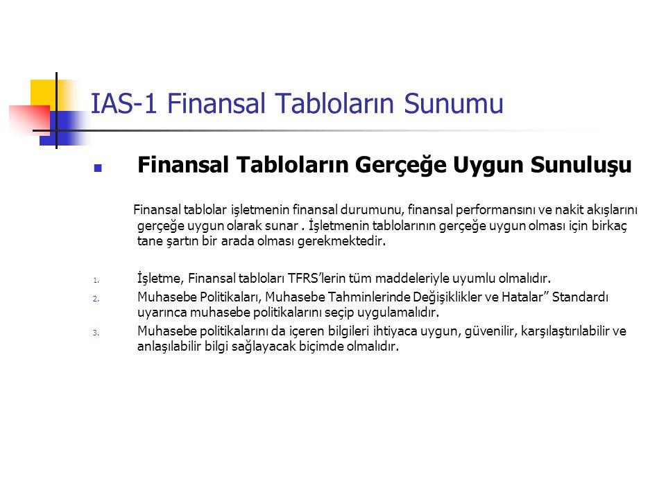IAS-1 Finansal Tabloların Sunumu Finansal Tabloların Gerçeğe Uygun Sunuluşu Finansal tablolar işletmenin finansal durumunu, finansal performansını ve