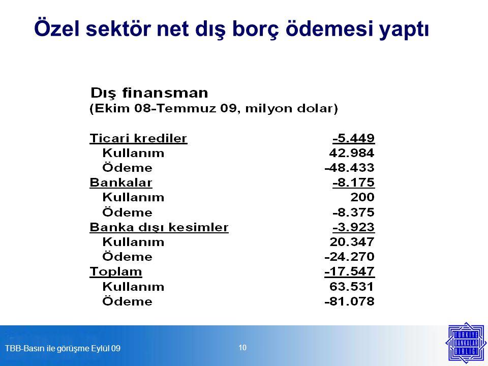 TBB-Basın ile görüşme Eylül 09 10 Özel sektör net dış borç ödemesi yaptı