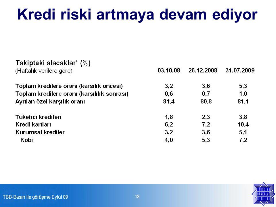 TBB-Basın ile görüşme Eylül 09 18 Kredi riski artmaya devam ediyor
