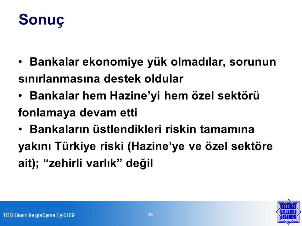 TBB-Basın ile görüşme Eylül 09 23 Sonuç Bankalar ekonomiye yük olmadılar, sorunun sınırlanmasına destek oldular Bankalar hem Hazine'yi hem özel sektörü fonlamaya devam etti Bankaların üstlendikleri riskin tamamına yakını Türkiye riski (Hazine'ye ve özel sektöre ait); zehirli varlık değil