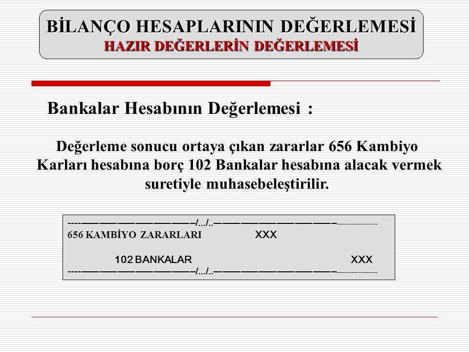 Değerleme sonucu ortaya çıkan zararlar 656 Kambiyo Karları hesabına borç 102 Bankalar hesabına alacak vermek suretiyle muhasebeleştirilir. -----------