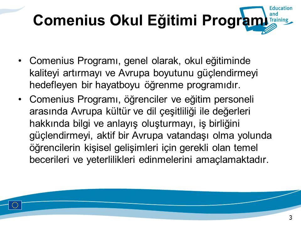 Comenius Okul Eğitimi Programı Comenius Programı, genel olarak, okul eğitiminde kaliteyi artırmayı ve Avrupa boyutunu güçlendirmeyi hedefleyen bir hay