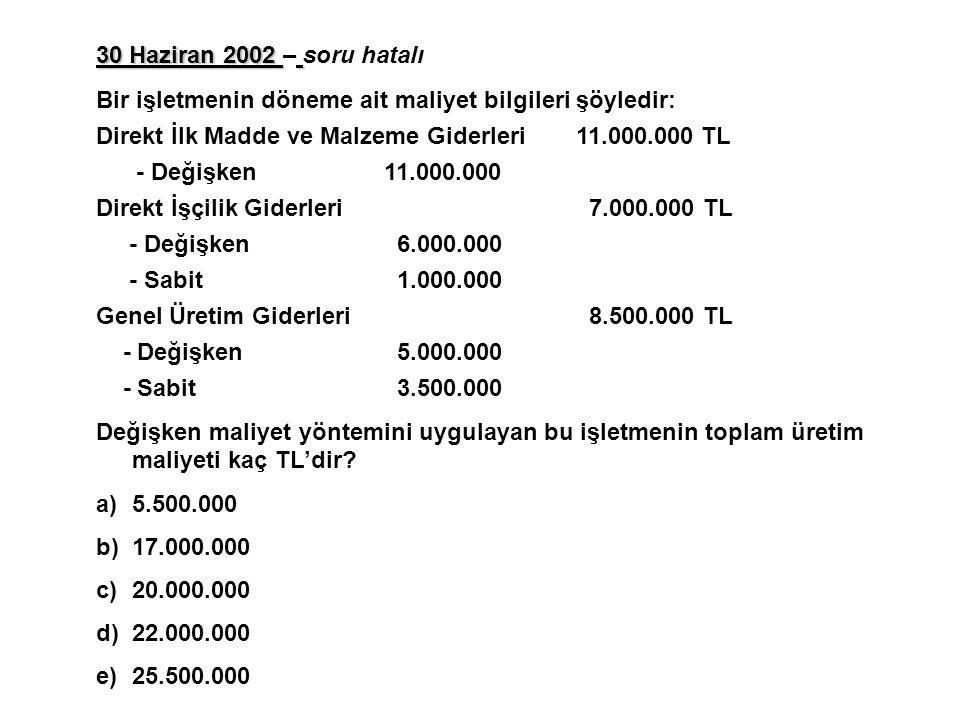 30 Haziran 2002 30 Haziran 2002 – soru hatalı Bir işletmenin döneme ait maliyet bilgileri şöyledir: Direkt İlk Madde ve Malzeme Giderleri11.000.000 TL - Değişken 11.000.000 Direkt İşçilik Giderleri 7.000.000 TL - Değişken 6.000.000 - Sabit 1.000.000 Genel Üretim Giderleri 8.500.000 TL - Değişken 5.000.000 - Sabit 3.500.000 Değişken maliyet yöntemini uygulayan bu işletmenin toplam üretim maliyeti kaç TL'dir.